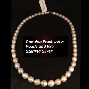🆕 Genuine Freshwater Pearl and 925 Necklace